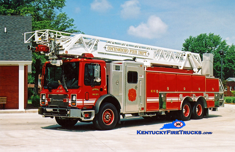 REASSIGNED<br /> Owensboro Ladder 145<br /> 1999 Mack MR/Ferrara/RK 109'<br /> Kent Parrish photo