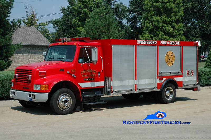 <center> RETIRED <br> Owensboro  Rescue 5  <br> x-Rescue 123 <br> 1997 International 4900/Browning   <br> Greg Stapleton photo <br> </center>