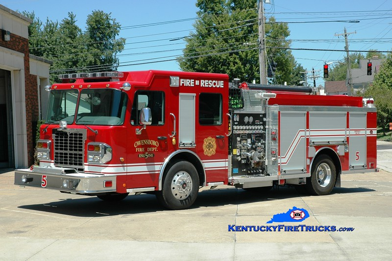 <center> Owensboro  Engine 5 <br> 2015 Spartan Metro Star/Rosenbauer 1500/750/30 <br> Greg Stapleton photo <br> </center>