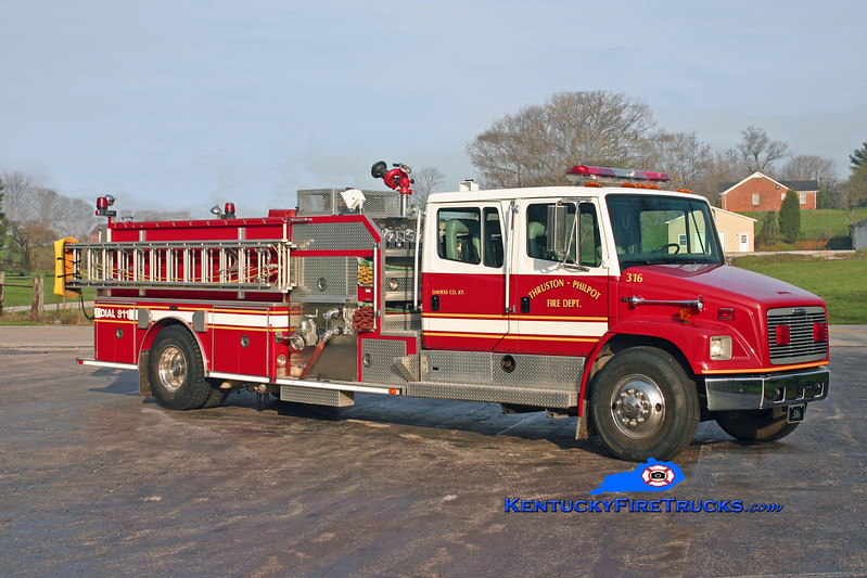 <center> Thruston-Philpot  Engine 316 <br> 1996 Freightliner FL80/E-One 1250/1000 <br> Kent Parrish photo <br> </center>