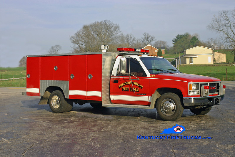 <center> Thruston-Philpot  Rescue 519 <br> 1993 GMC 3500 4x4/Browns Valley <br> Kent Parrish photo <br> </center>