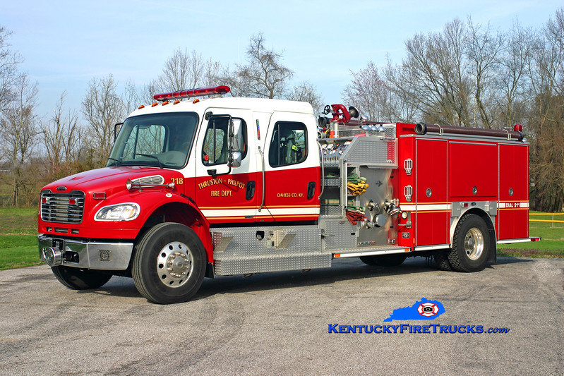 <center> Thruston-Philpot  Engine 218 <br> 2006 Freightliner M2-106/E-One 1250/1000/30 <br> Kent Parrish photo <br> </center>