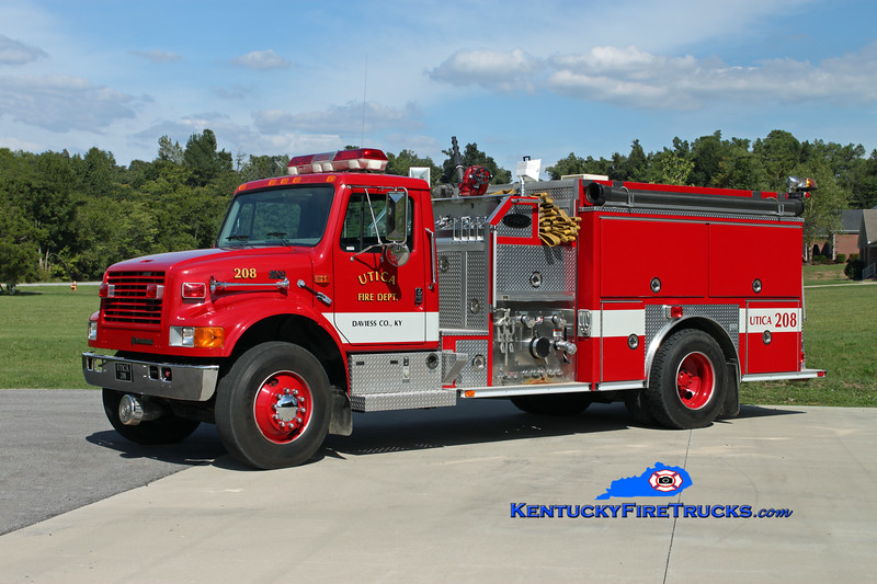 <center> Utica  Engine 208 <br> 1997 International 4900/E-One 1250/1000 <br> Kent Parrish photo <br> </center>