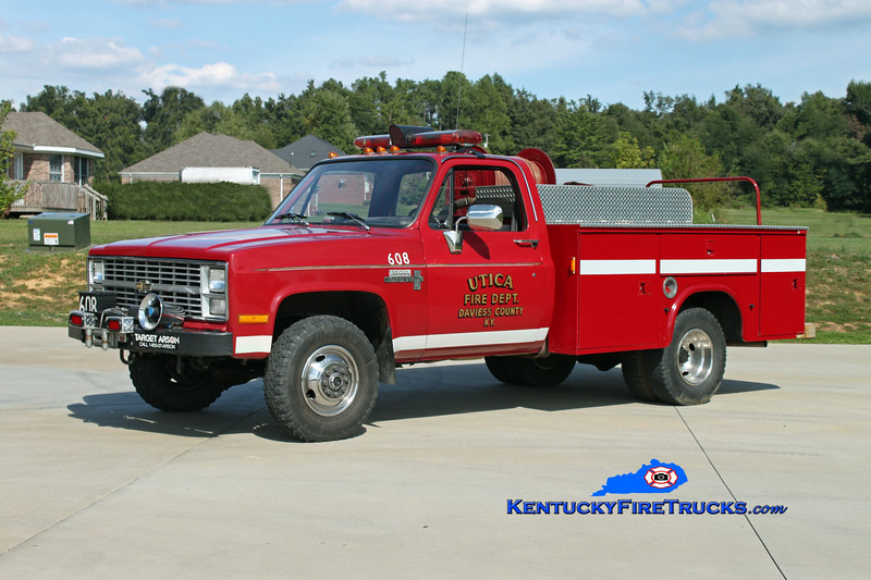 <center> Utica  Brush 608 <br> 1983 Chevy C30 4x4/Knapheide 250/250 <br> Kent Parrish photo <br> </center>