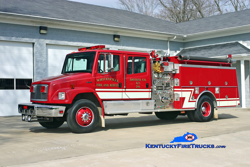 <center> RETIRED <br> Whitesville Engine 206 <br> 1993 Freightliner FL80/KME 1250/1000/30 <br> Kent Parrish photo <br> </center>