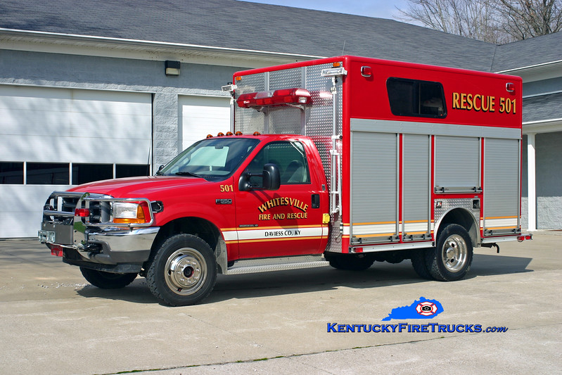 <center> Whitesville  Rescue 501 <br> 2000 Ford F-550 4x4/E-One  <br> Kent Parrish photo <br> </center>