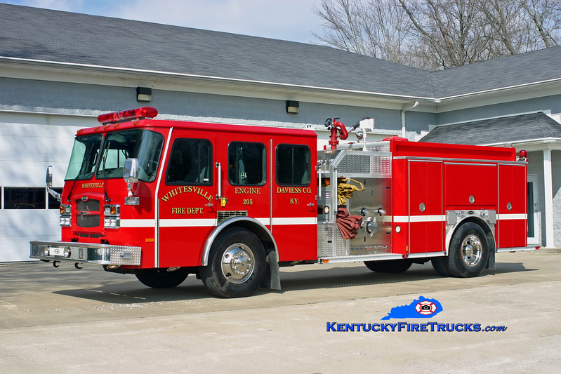 <center> Whitesville  Engine 205 <br> 2003 E-One Typhoon 1250/1000 <br> Kent Parrish photo <br> </center>
