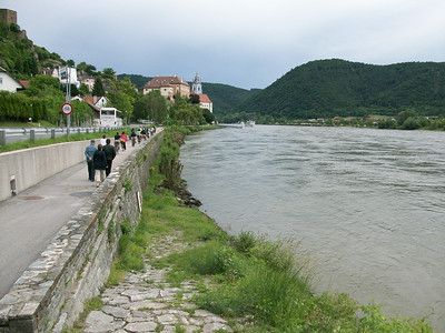 A narrow bike path on the edge of the Danube River, approaching the town of Duernstein. We stopped here for about 2 hours to explore.