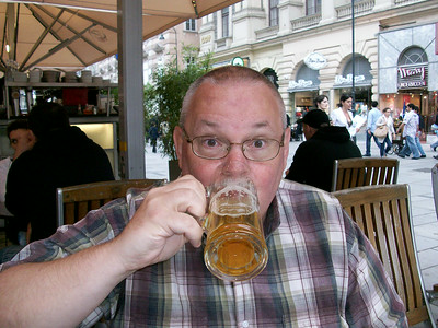 Ed enjoying a cold beer at an outdoor cafe near Stephansplatz in Vienna. Beer is an artform in Austria.
