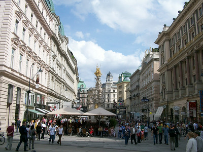 A pedestrian mall directly adjacent to Stephansplatz in Vienna.