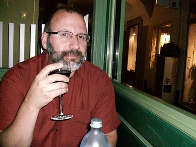 Joe enjoying a glass of red wine on our first night in Vienna. Dinner at Figmueller (Backerstrasse, 6) was a real treat!