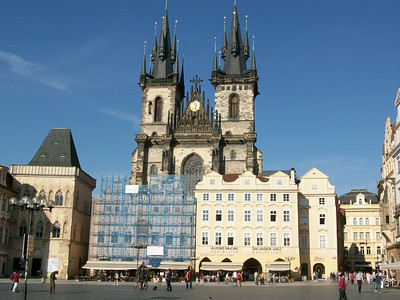 The 14th century Church of Our Lady Before Tyn dominates the East side of Old Town Square in Prague.