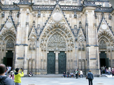The massive 14th century St. Vitas Cathedral dominates Prague Castle.