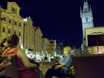 Old Town Square in Prague at night.