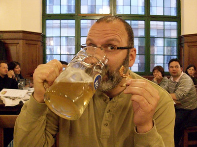 First night in Munich means a quick stop at the Hofbrauhaus before dinner. That is one large beer.....