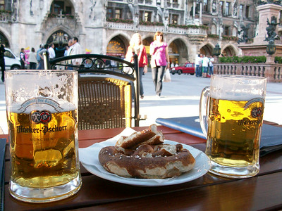 Cold beer, warm pretzels, a hot afternoon relaxing and people-watching on Marienplatz in Munich.