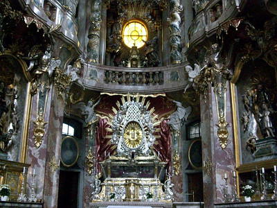 The stunning Baroque interiors of the Dreifaltigkeitskirche (Holy Trinity Church) in Munich.