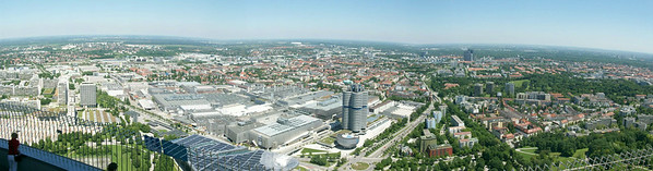 Panoramic view from the observation platform of the 950 foot high Olympicaturm (tower) in Olympiapark.