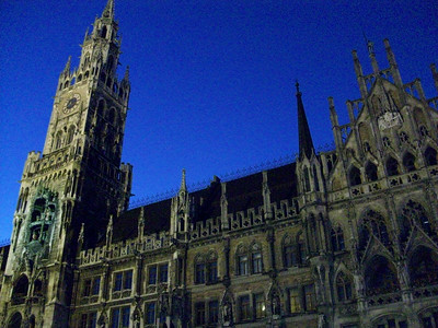 Neues Rathaus (Town Hall) at night. Marienplatz in Munich.
