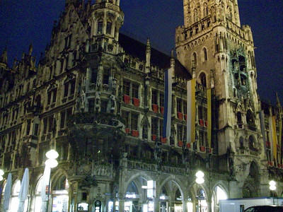 The Neues Rathaus (Town Hall) on Marienplatz in Munich at night.