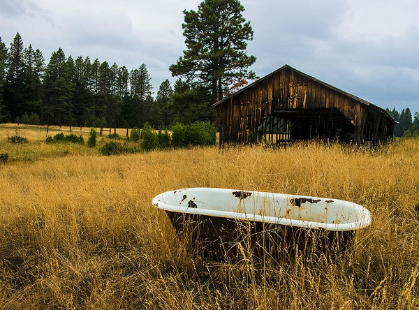 Bathtub with barn beyond<br /> <br /> P365