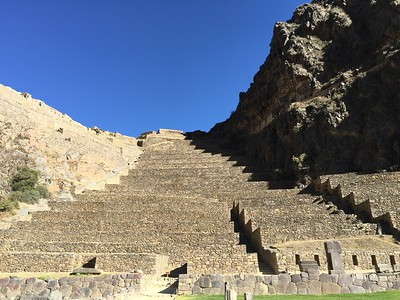 Ollantaytambo: an ancient Inca ruin. What looks like steps in this picture are actually agricultural terraces for farming.