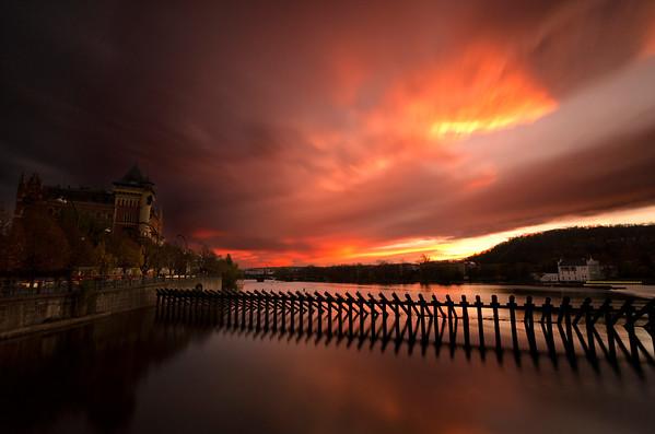 Fire in Sky over the Vltava River