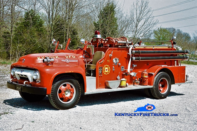 RETIRED<br /> Kyrock  Engine 71<br /> 1954 Ford F/American 500/500<br /> Greg Stapleton photo