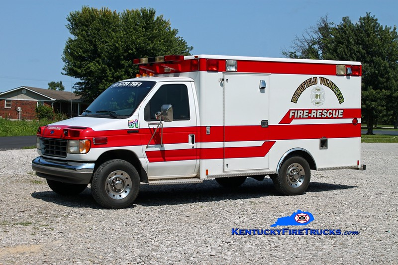 <center> Wingfield  Squad 51  <br> x-Edmonson County EMS, KY <br> 1993 Ford E-350/Wheeled Coach <br> Kent Parrish photo </center>