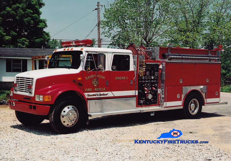 <center> Sandy Hook  Engine 2 <br> 1991 International 4900/Southern Coach 1000/1000 <br> Greg Stapleton photo <br> </center>