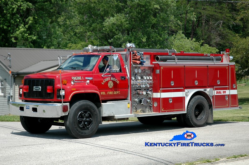 <center> Sandy Hook  Engine 1 <br> 1991 Chevy Kodiak/E-One 1250/1000 <br> Greg Stapleton photo <br> </center>