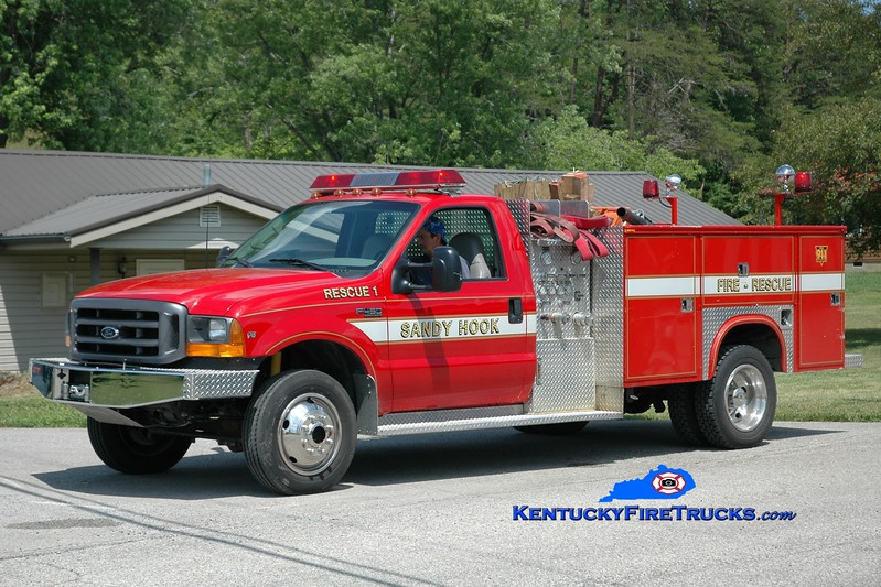 <center> Sandy Hook  Rescue 1 <br> 1998 Ford F-450/Knapheide/FD 250/250 <br> Greg Stapleton photo <br> </center>
