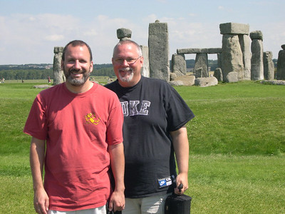Joe and Ed at Stonehenge, just north of Salisbury, England. The prehistoric monument was erected in 3100 BC. The size, scale, and geometric precision have to make you wonder...