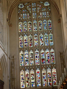 Stained glass inside of Bath Abbey.