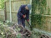 Barry tackling the undergrowth down the line