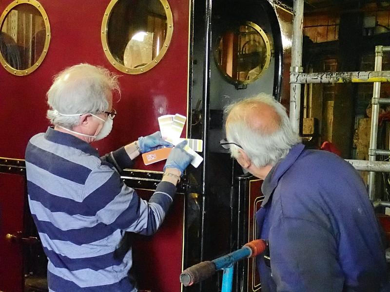 Glann and Alan colour-match Irish Mail's lining