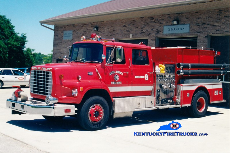 <center> RETIRED <br> Estill County  Engine 8 <br> x-Lexington, KY <br> 1983 Ford LS9000/American LaFrance 1250/1000 <br> Greg Stapleton photo </center>