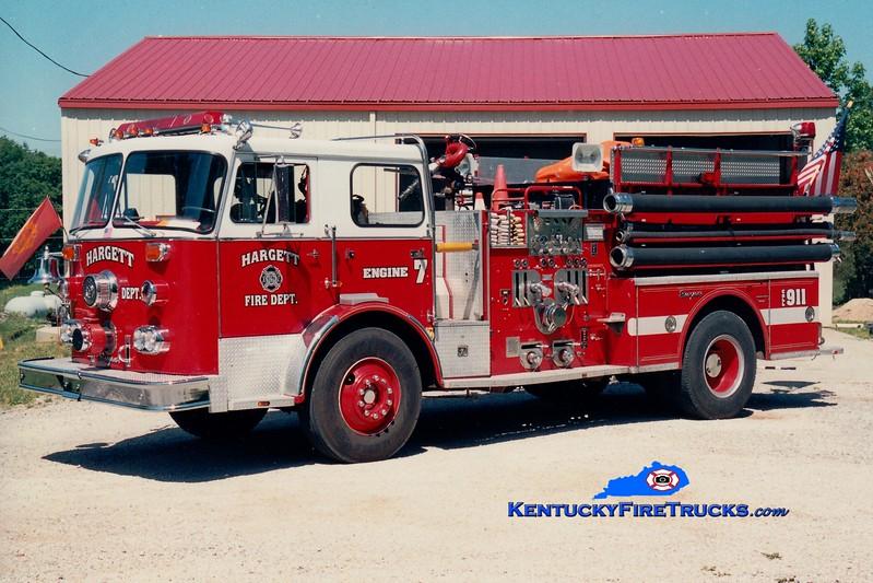 <center> RETIRED <br> Hargett  Engine 7 <br> x-Long Ridge, CT; Estill County, KY <br> 1975 Seagrave PB 1250/1000 <br> Greg Stapleton photo </center>