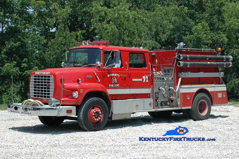 <center> Hargett  Engine 71 <br> x-Lexington, KY <br> 1983 Ford LS/American LaFrance 1250/1000 <br> Greg Stapleton photo </center>