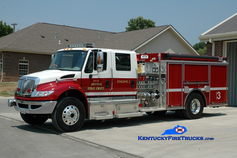 <center> Irvine Engine 3 <br> 2008 International 4400/Pierce 1500/1000 <br> Greg Stapleton photo </center>