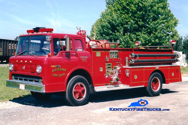 <center> RETIRED <br> Ravenna Engine 5 <br> 1969 Ford C-850/Pirsch 1000/500  <br> Greg Stapleton photo </center>
