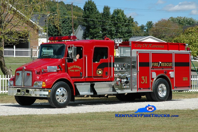 <center> Ravenna  Engine 31 <br> 2006 Kenworth T-300/Pierce 1250/1000  <br> Greg Stapleton photo </center>