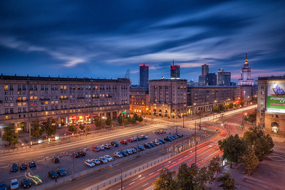The Polish capital of Warsaw as seen from above one its central squares (Plac Konstytucji) at dusk.