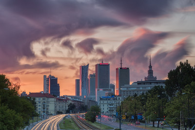 Beautiful light strikes the skyscraper's in downtown Warsaw, Poland, at sunset.