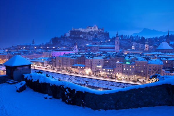 The birthplace of none other than Mozart, Salzburg, Austria, during the evening blue hour on a cold winter's day.