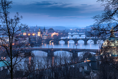 Another iconic view overlooking the many bridges of Prague, Czech Republic.