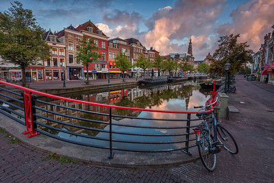 Early-morning reflections on one of the canals in Leiden, home to the Netherlands' oldest university.