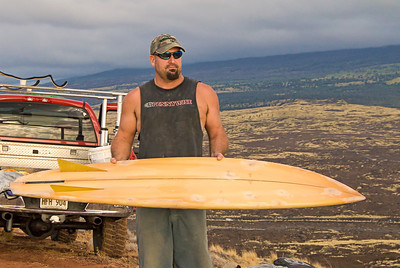 Tim Orr and another of his vintage Bonzers. Big Island Hawaii, July 2011.