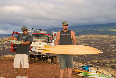 Mike Kelly and Tim Orr with vintage Bonzers. Big Island Hawaii, July 2011.