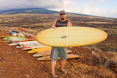 Tim Orr with vintage Bing Bonzer. Big Island Hawaii, July 2011.